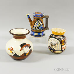 Two Quimper Pottery Vases and a Coffeepot