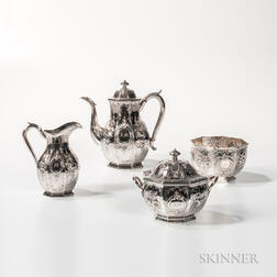 Four-piece Ball, Black & Co. Coin Silver Tea Service