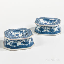 Pair of Octagonal Canton Export Porcelain Salts