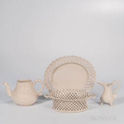 Three Staffordshire White Salt-glazed Stoneware Items