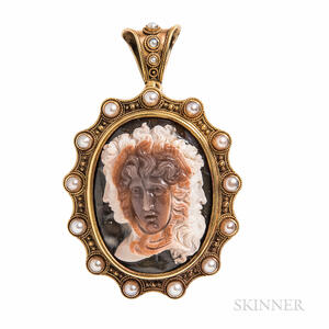 Antique Archaeological Revival Gold and Hardstone Cameo Pendant/Brooch