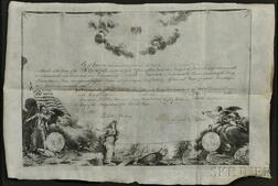 Washington, George (1732-1799) Document Signed, Mount Vernon, Virginia, 1 February 1789, Membership Certificate in the Society of the C