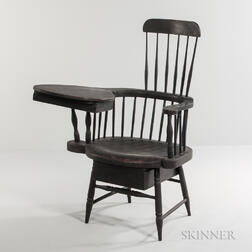 Black-painted Writing Arm Windsor Chair