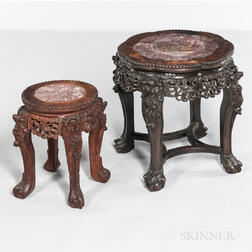 Two Marble-top Hardwood Stands