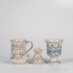 Three Staffordshire Salt-glazed Stoneware Scratch Blue Items
