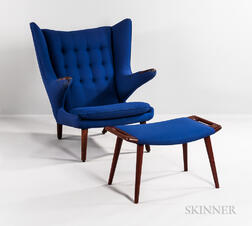 "Hans J. Wegner for AP Stolen ""Papa Bear"" Chair and Footstool"