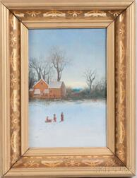 Anglo/American School, 20th Century       Winter Scene with Children.