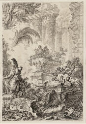 Giovanni Battista Piranesi (Italian, 1720-1778)      Two Framed Prints:   The Right Half of the Frontispiece of the Vedute di Roma