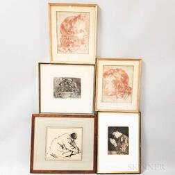 Five Framed Works on Paper