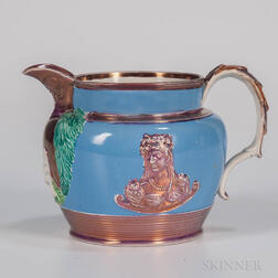 Pink Lustre Decorated Commemorative Charlotte/Leopold Jug