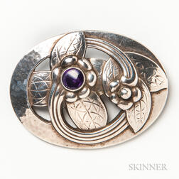 Georg Jensen Sterling Silver and Amethyst Brooch
