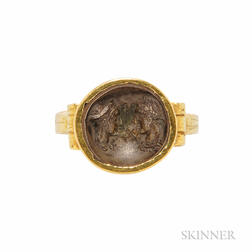 18kt Gold and Antique Bronze Coin Ring