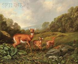 Arthur Fitzwilliam Tait (Anglo/American, 1819-1905)      Doe and Fawns in a Landscape