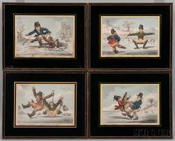 James Gillray (British, 1757-1815)      Elements of Skateing  /A Set of Four Framed Prints