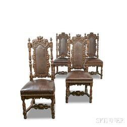 Set of Four Baroque-style Carved Oak and Leather-upholstered Side Chairs