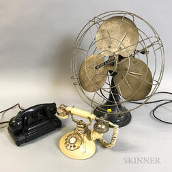Robbins & Myers Fan and Two Rotary Telephones.     Estimate $150-250