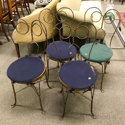 Set of Four Painted Iron Ice Cream Parlor Chairs