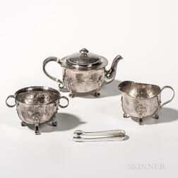 Dominick & Haff Three-piece Sterling Silver Tea Set with Tongs