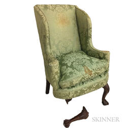 Chippendale-style Carved and Upholstered Mahogany Wing Chair