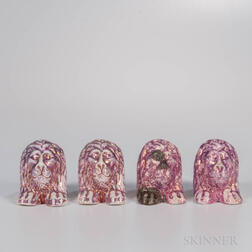 Four Pink Lustre Decorated Furniture Supports
