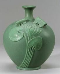 Art Pottery Matte Green Glazed Water Lily Vessel, Ohio, c. 1910, flared rim with short neck on bulbous molded body with water lily in h