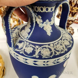 Wedgwood Dark Blue Jasper Dip Double-handled Urn