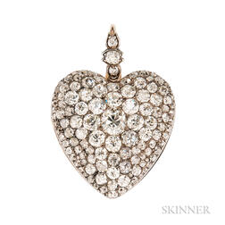 Fine Antique Diamond Heart Pendant