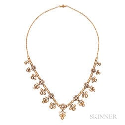 Antique Gold, Split Pearl, and Diamond Necklace