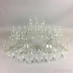 Approximately Forty-nine Pieces of Colorless Glass Tableware.     Estimate $20-200
