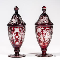 Pair of Bohemian Overlay Glass Jars and Covers