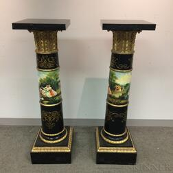 Pair of Neoclassical-style Gilt and Hand-painted Marble-top Columnar Pedestals