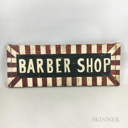 """Painted Wood Double-sided """"Barber Shop"""" Sign"""
