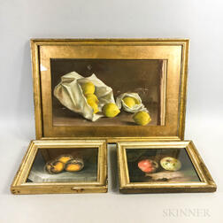 Three Framed Pastel Still Lifes with Fruit