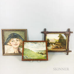 Three Framed American Oil on Panel Paintings
