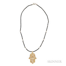 14kt Gold, Colored Diamond, and Diamond Hamsa Pendant