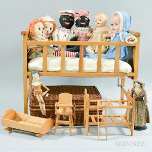 Large Group of Cloth Dolls and Doll Accessories.