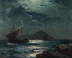 Alexei Vasilievich Hanzen (Russian, 1876-1937)      Ships in Moonlight