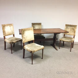 Large Pine Trestle-base Table and a Set of Four Upholstered Side Chairs