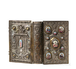 New Testament in Church Slavonic in a Silver-plated Binding with Miniatures on Porcelain.