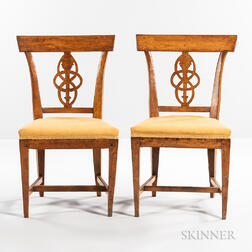 Set of Six Biedermeier Beechwood Dining Chairs