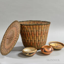 Four Hopi Items, Three Painted Pottery Bowls, and a Lidded Wicker Basket