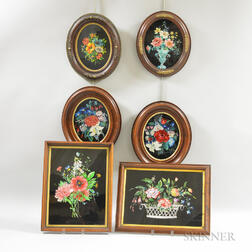 Six Framed Floral Tinsel Pictures