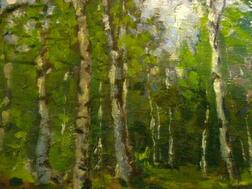Framed Oil Landscape with Birches