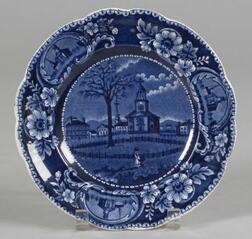 Historic Blue and White Transfer Decorated Staffordshire Pottery Plate