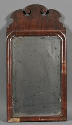Small Queen Anne Mahogany Veneer Mirror