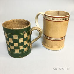 Two Engine-turned and Slip-decorated Mugs