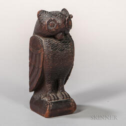 Carved Walnut Folk Art Figure of an Owl