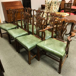 Set of Seven Chippendale-style Carved Mahogany Dining Chairs