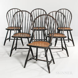 Set of Six Black- and Mustard Yellow-painted Bamboo-turned Bow-back Windsor Chairs