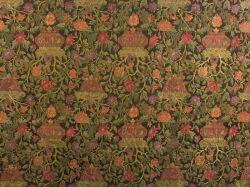 Three French Satin Jacquard Drapery Panels